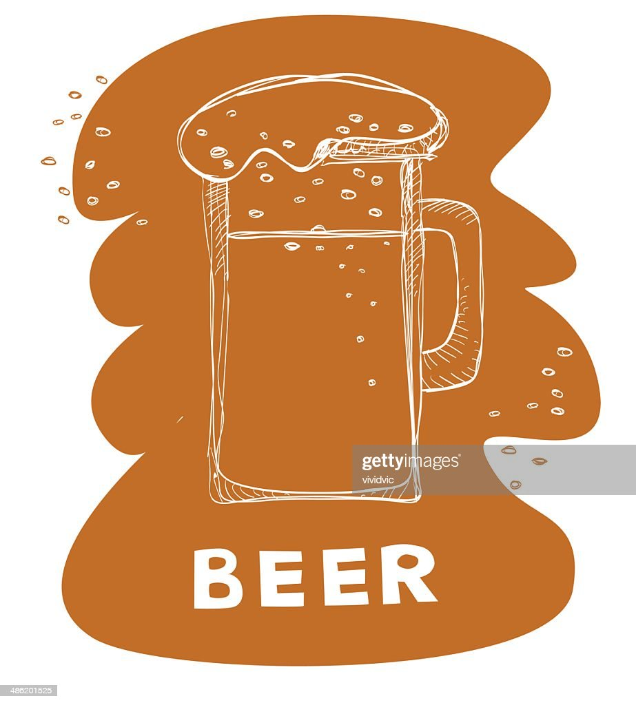 Beer Mug Doodle On Brown Background High Res Vector Graphic Getty Images