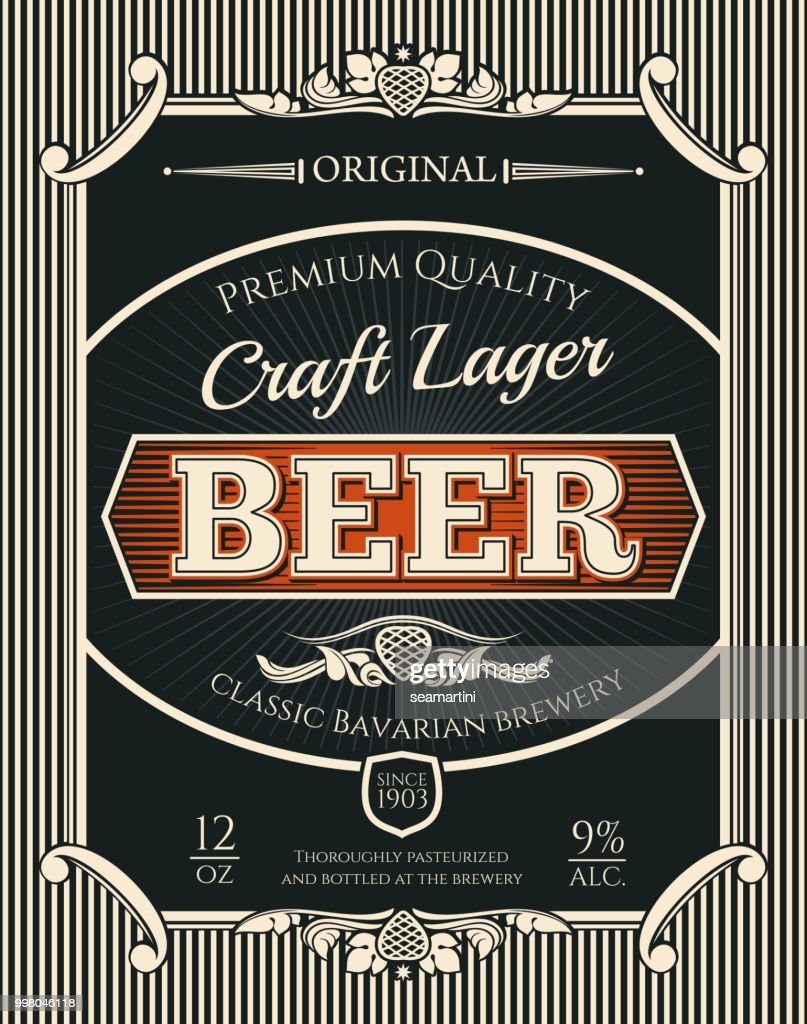 Beer or craft lager label of brewery alcohol drink
