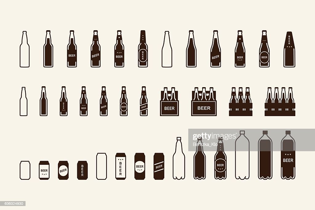 Beer package icon set: bottle, can, box