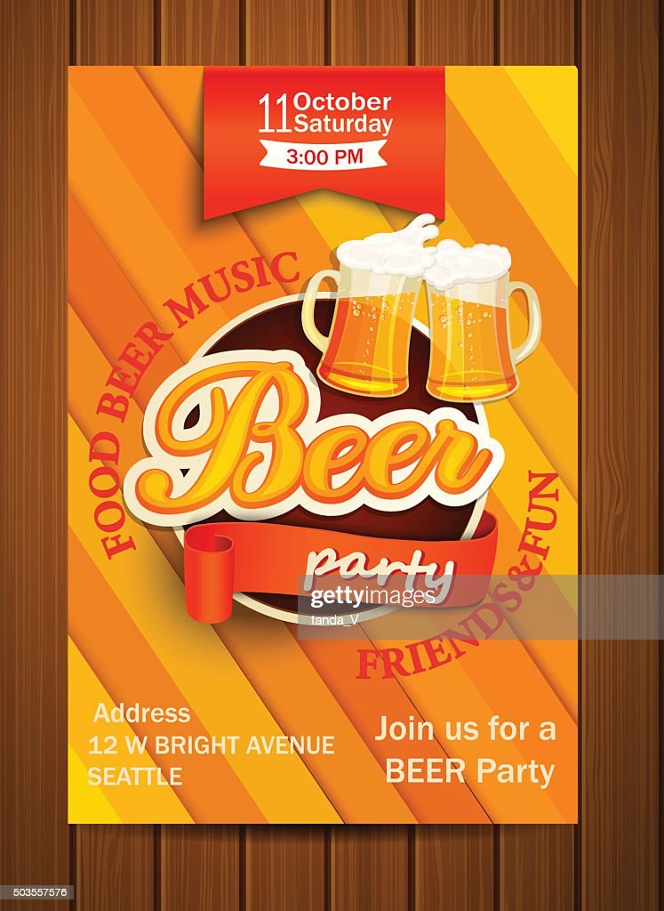 Beer party flyer, vector illustration.