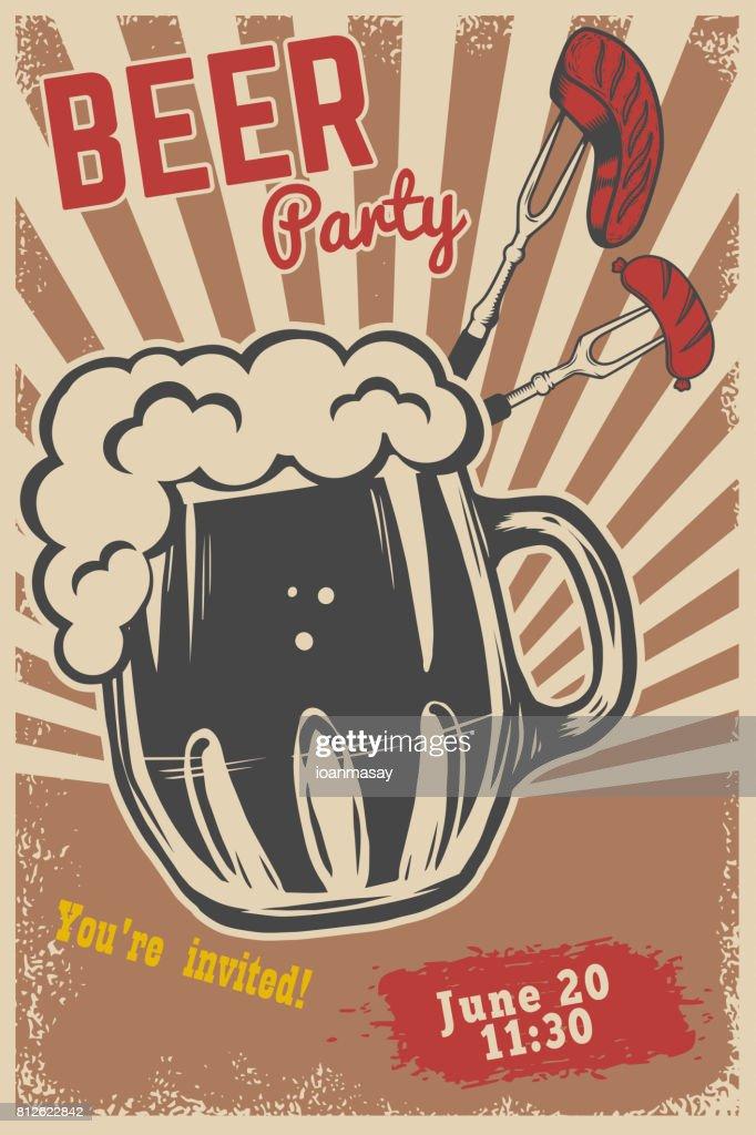 Beer party invitation template beer mug fork with grilled meat and beer party invitation template beer mug fork with grilled meat and sausage on grunge stopboris Gallery