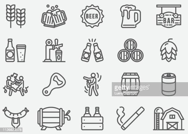 beer party line icons - ale stock illustrations