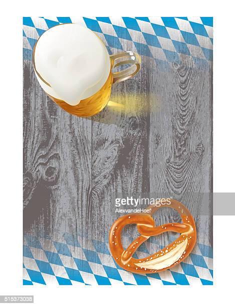 beer pretzel bavarian flag and wood structure - pretzel stock illustrations, clip art, cartoons, & icons