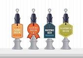 Beer pump template design. Beer pump collection. Beer pump label set.