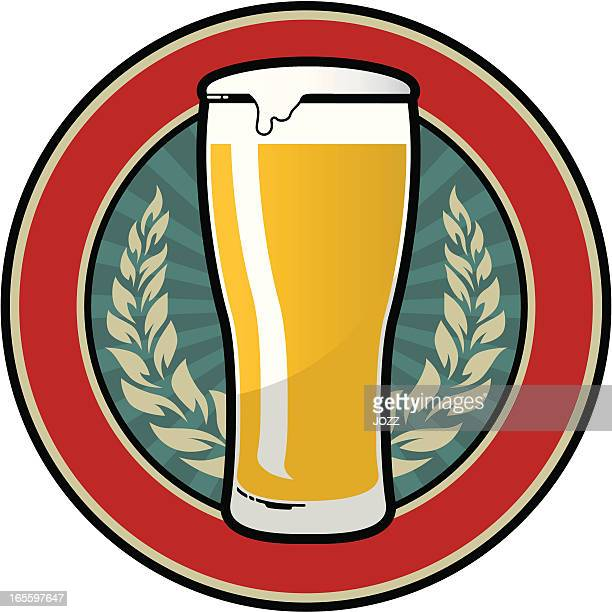 beer retro emblem - beer glass stock illustrations, clip art, cartoons, & icons