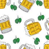 Beer seamless pattern. Perfect for seasonal, autumn, octoberfest design
