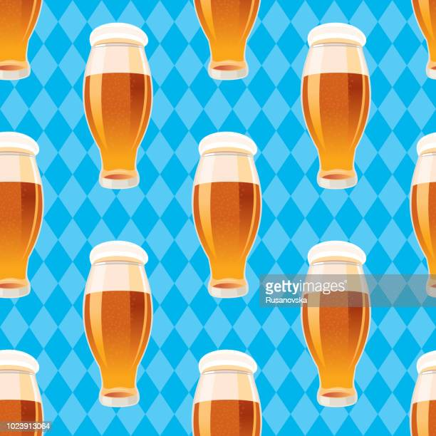 beer seamless pattern - lager stock illustrations, clip art, cartoons, & icons