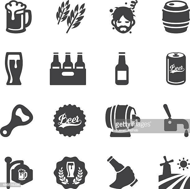 beer silhouette icons | eps10 - beer alcohol stock illustrations, clip art, cartoons, & icons