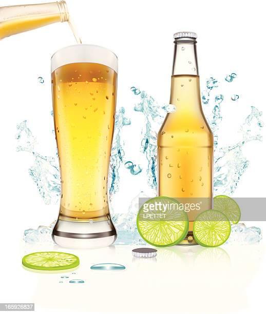 beer splash - vector illustration - beer glass stock illustrations, clip art, cartoons, & icons