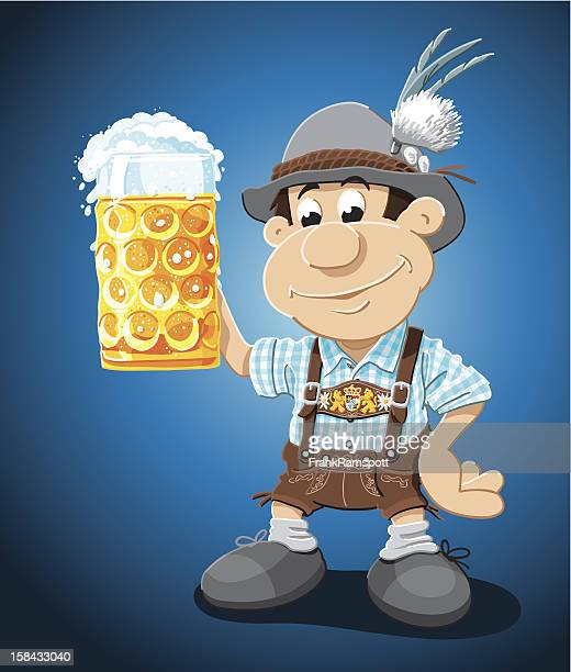 Beer Stein Lederhosen Cartoon Man