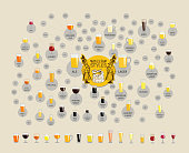 Beer styles map for bars. Infographic elements