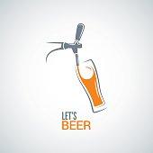 beer tap glass design vector background