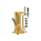 Beer tap, hops and wheat. Linear icon. Sign, symbol, emblem, label, brewery, beer restaurant, pub, bar, menu, website. Vector illustration.