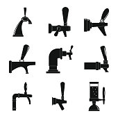 Beer tap icons set, simple style