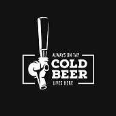 Beer tap with quote. Vector vintage illustration.
