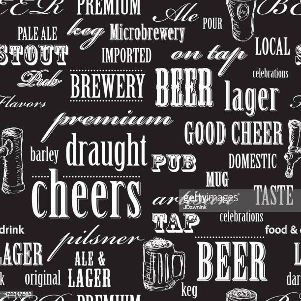 beer themed seamless repeating word pattern - happy hour stock illustrations, clip art, cartoons, & icons