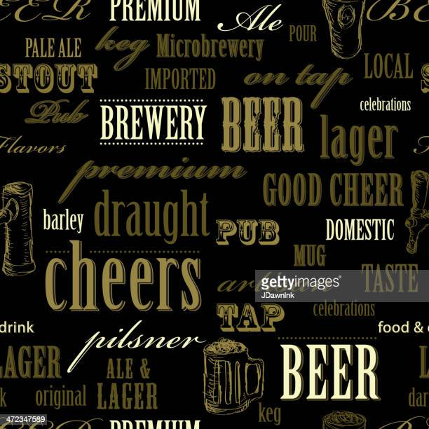 beer themed seamless repeating word pattern - brewery stock illustrations, clip art, cartoons, & icons