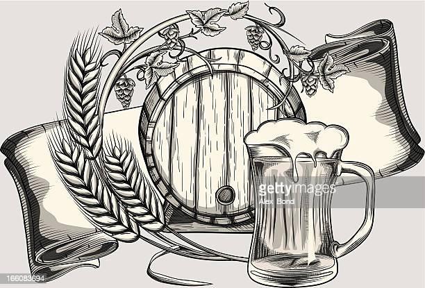 beer - barley stock illustrations, clip art, cartoons, & icons