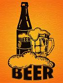 Beer vintage poster on a wooden background.