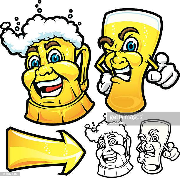 beers happy and angry - stag night stock illustrations, clip art, cartoons, & icons