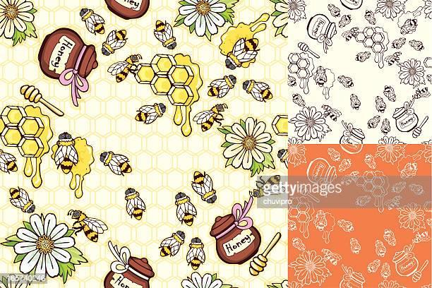 Mel de abelhas e sem costura de fundo