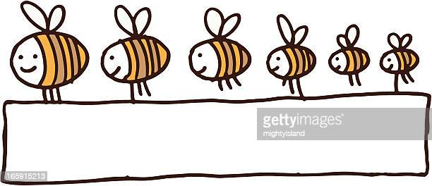 Bees holding a blank banner