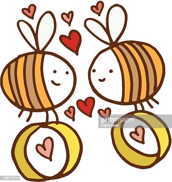 illustrations, cliparts, dessins animés et icônes de dans l'amour avec des abeilles anneaux - gay love