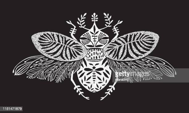 illustrations, cliparts, dessins animés et icônes de scarabée blanc effet pointillée fantaisie créature - cigale