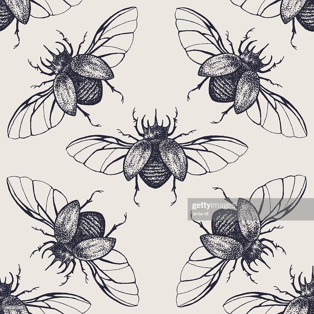 Beetles with wings vintage seamless pattern
