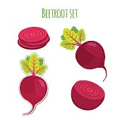Beetroot set made in cartoon flat style. Label for market
