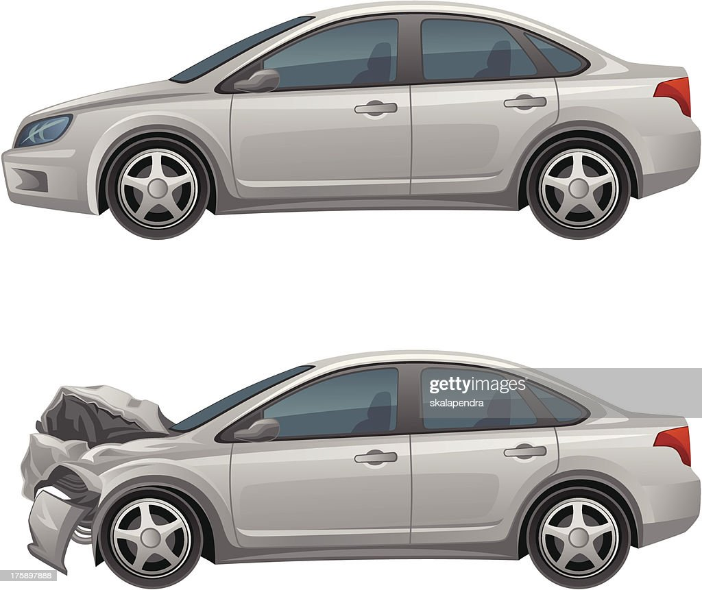 Before and after pictures of the cars damages