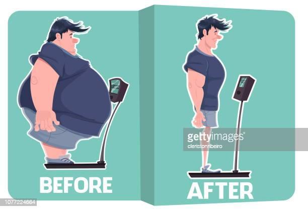 illustrations, cliparts, dessins animés et icônes de avant et après (perte de poids) - devant