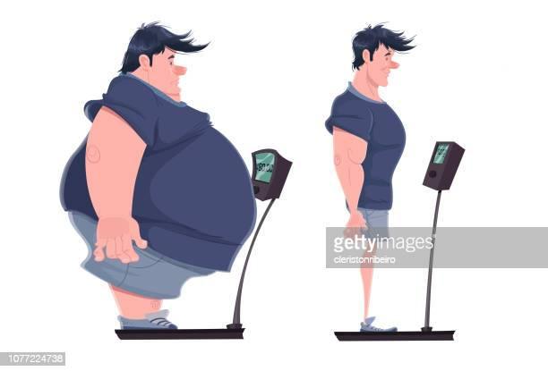 ilustrações, clipart, desenhos animados e ícones de antes e depois (perda de peso) - gordo