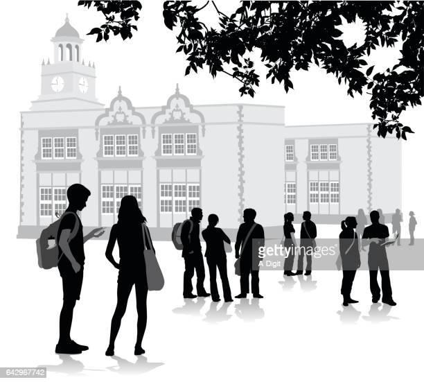 ilustrações de stock, clip art, desenhos animados e ícones de before the bell school - patio de colegio