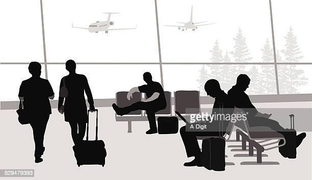 beforeboarding - airport terminal stock illustrations, clip art, cartoons, & icons