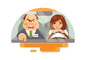 Beginner driver with an instructor