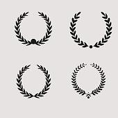 beground white laurel wreath set icon , sports label wreath