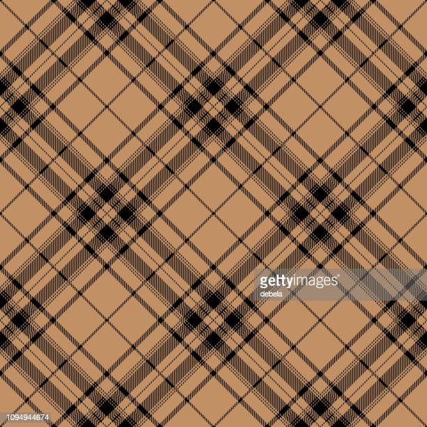 beige and black scottish tartan plaid textile pattern - scottish tweed stock illustrations, clip art, cartoons, & icons