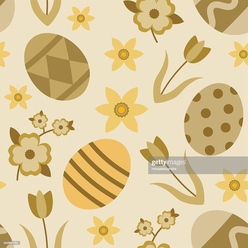 Beige and gold seamless pattern with easter eggs and flowers