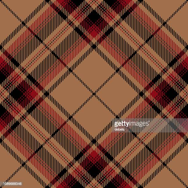 Beige And Red Scottish Tartan Plaid Textile Pattern