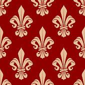 Beige and red seamless fleur-de-lis pattern