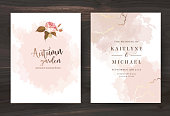 Beige and rose gold watercolor style vector design cards.