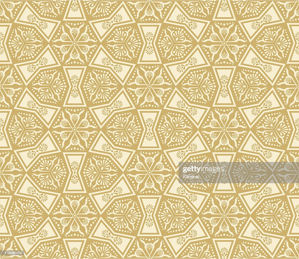 Beige damask seamless arabesque