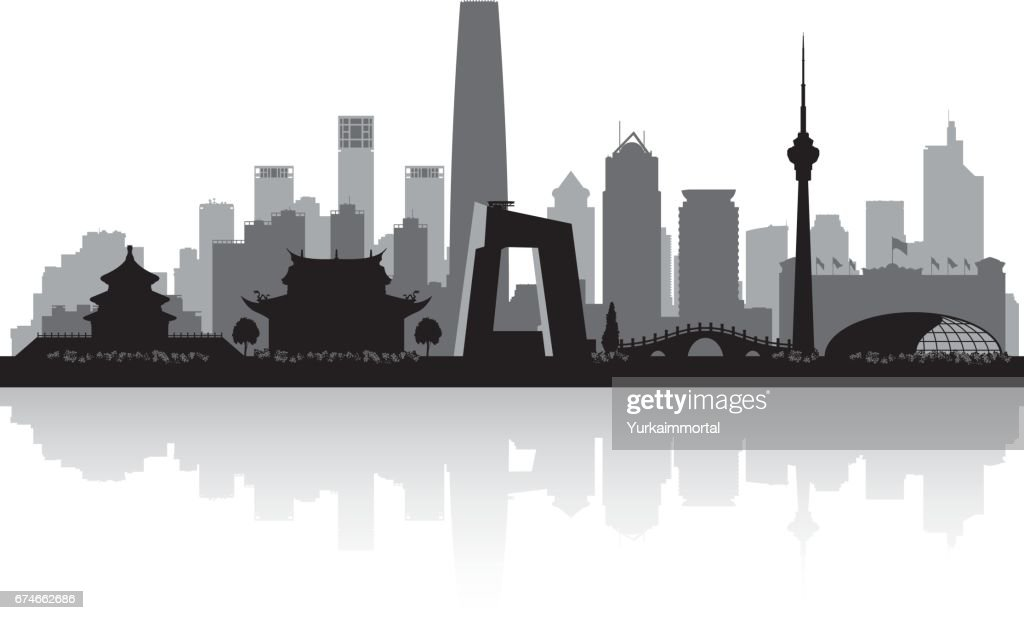 Beijing China city skyline silhouette
