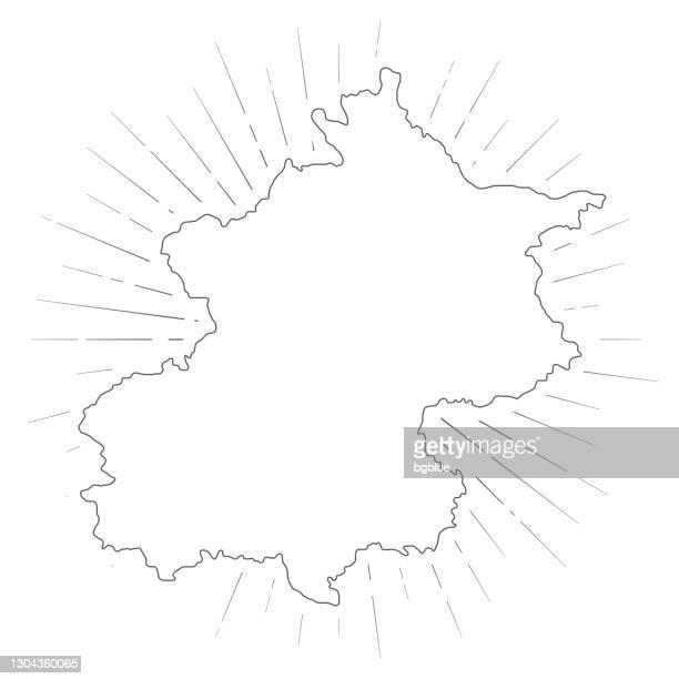 白い背景に太陽の光を持つ北京マップ - 中国北東部点のイラスト素材/クリップアート素材/マンガ素材/アイコン素材