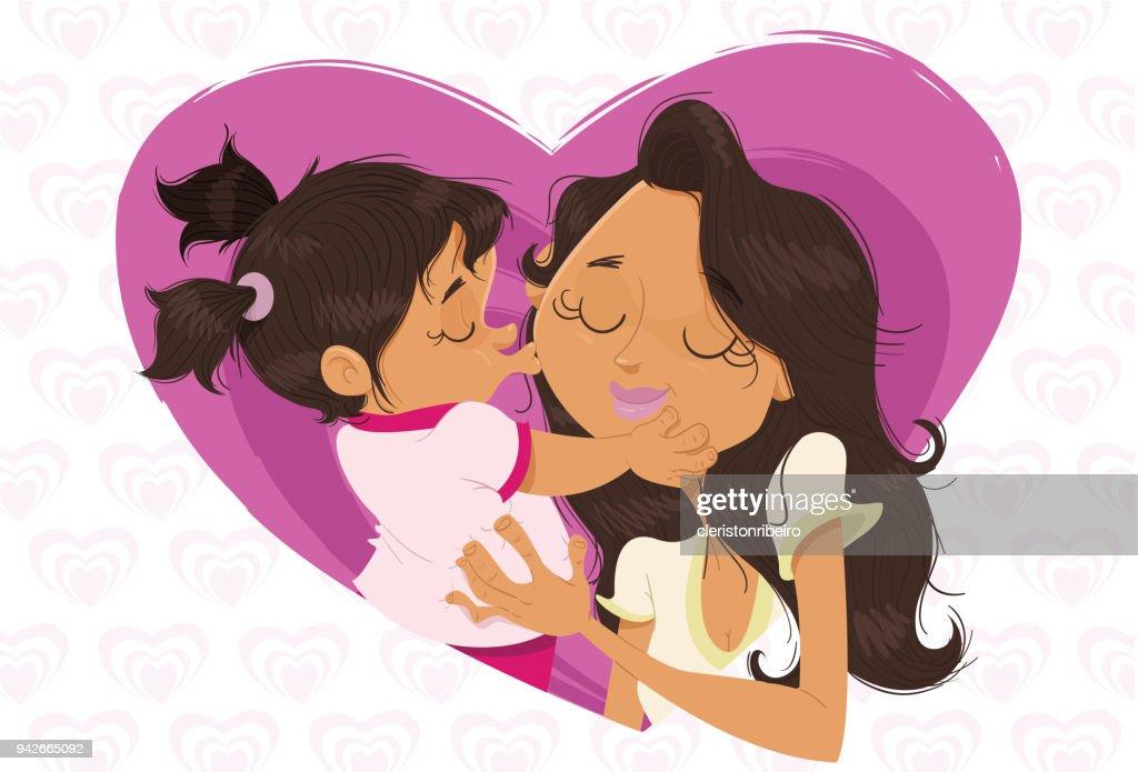 O beijo na mamãe! : Ilustración de stock