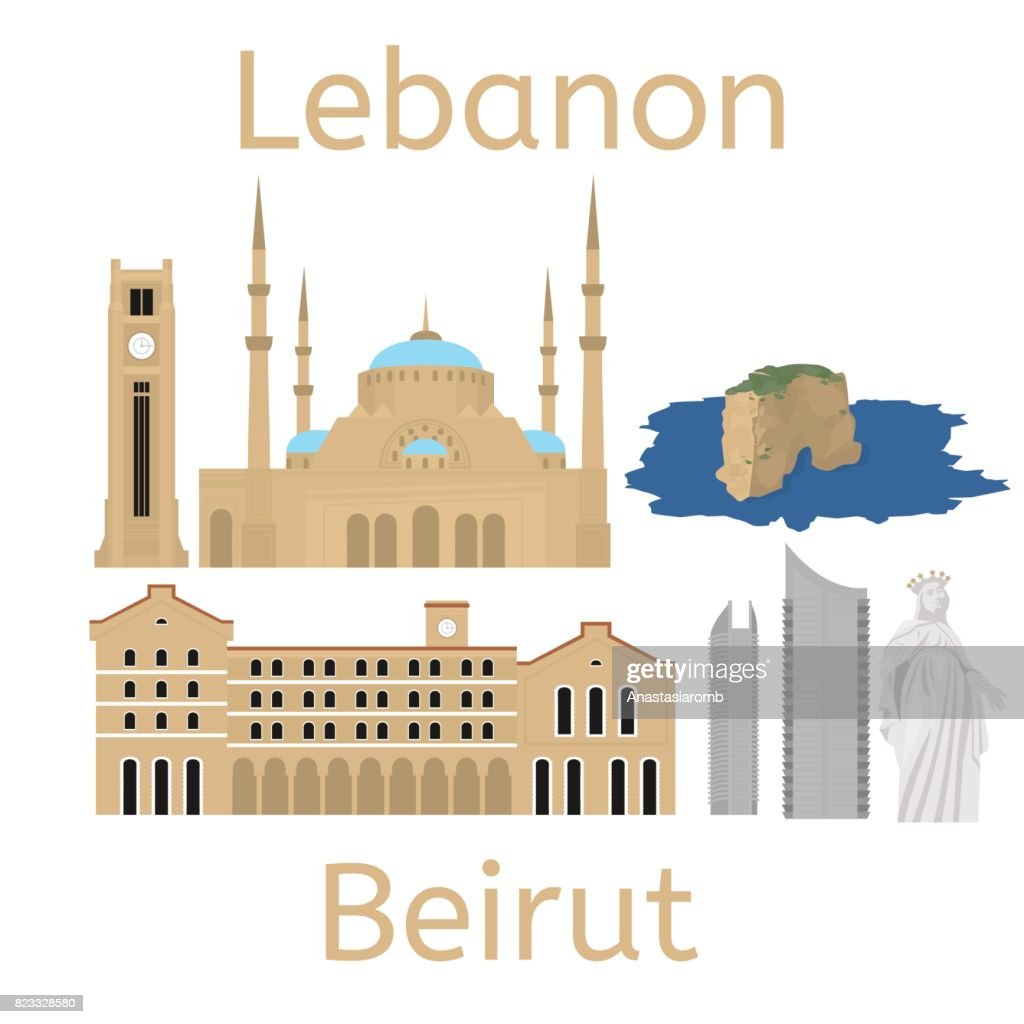 Beirut City skyline silhouette. Flat lebanese tourism icon banner, postcard. Lebanon travel concept. Cityscape with landmarks architecture.