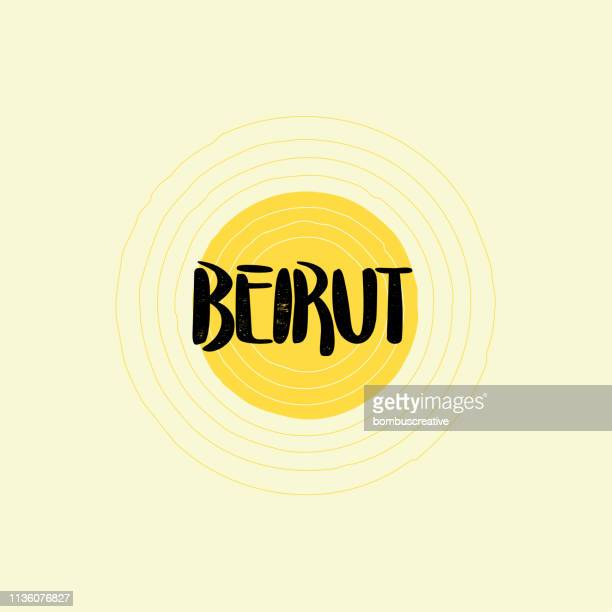 beirut lettering design - lebanon country stock illustrations, clip art, cartoons, & icons