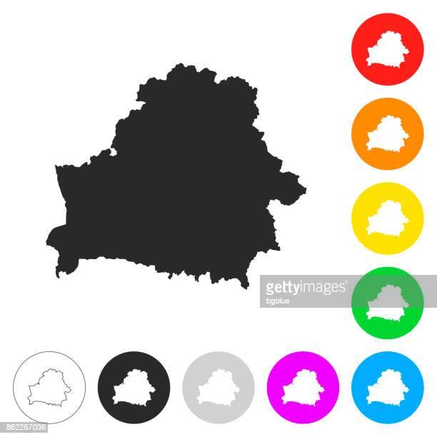 ベラルーシ地図 - 別の色ボタンのフラット アイコン - ベラルーシ点のイラスト素材/クリップアート素材/マンガ素材/アイコン素材