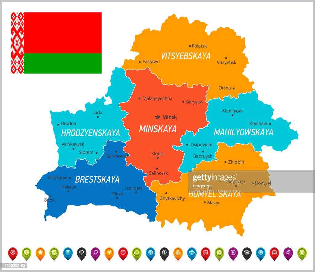 Picture of: Belarus Map With Regions Navigation Icons And National Flag High Res Vector Graphic Getty Images